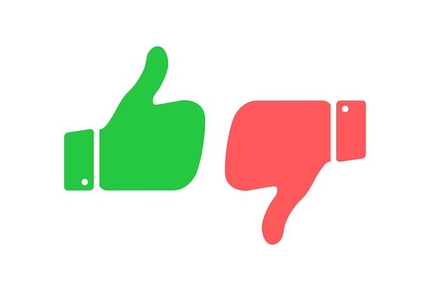 """Symbole """"do"""" i """"nie"""" w perspektywie emblematy kciuk w górę i w dół zestaw ikon """"lubię i nie lubię"""""""