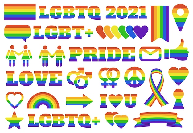 Symbole dumy lgbtq. elementy parady gejowskiej, tęczowe znaki płci społeczności lgbt, flaga dumy i serca. zestaw emblematów miesiąca dumy.