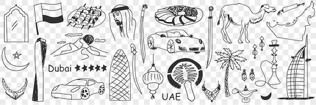 Symbole emiratów arabskich doodle zestaw