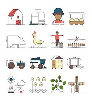 Symbole farmy. obiekty rolnicze pola pszenicy z maszyną rolniczą łączą się na liniowej ikonie plantacji