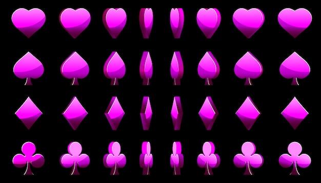Symbole fioletowych kart pokera 3d, rotacja gier animowanych
