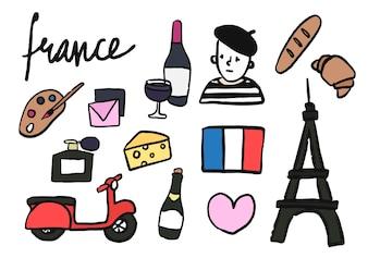 Symbole Francji kolekcji ilustracji