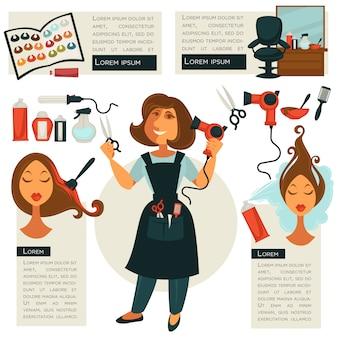 Symbole fryzjerskie i narzędzia fryzjerskie