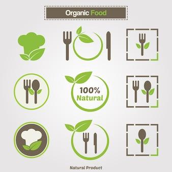 Symbole gotowania organicznego. szablon logo restauracji z jedzeniem i szef kuchni kapelusz sylwetką ikonę. zestaw kolekcji vector dla ekologicznej żywności ekologicznej żywności płaskiej.