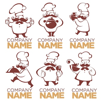 Symbole gotowania, sylwetki żywności i szefa kuchni, obrazy kolekcji dla twojego logo, etykiety, herby