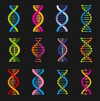Symbole helisy dna, znaki medycyny genetycznej. struktura cząsteczki spiralnej, nauka i badania naukowe, ewolucja kodu ludzkiego genu.