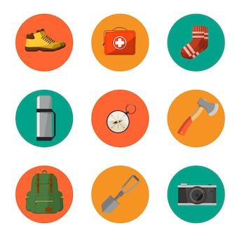 Symbole i ikony sprzętu kempingowego