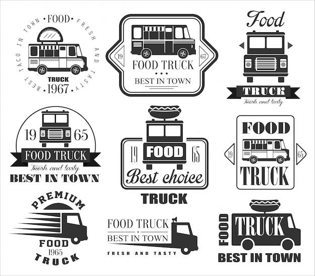 Symbole, ikony i odznaki food truck.