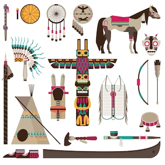 Symbole indian amerykańskich i plemienne akcesoria zestaw ikon fiat na białym tle