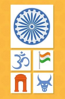Symbole indii ustawione na pomarańczowym tle
