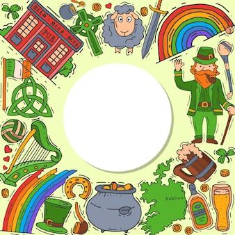 Symbole irlandii doodle zestaw ilustracji. dzień świętego patryka, koniczyna, koniczyna, krasnoludek i irlandczyk