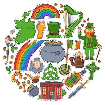 Symbole irlandii doodle zestaw ilustracji. dzień świętego patryka, koniczyna, koniczyna, krasnoludek i pub irlandzki.
