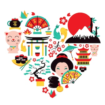 Symbole japonii serca