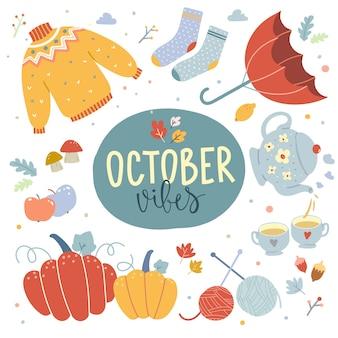 Symbole jesieni, ręcznie rysowane ilustracje wektorowe