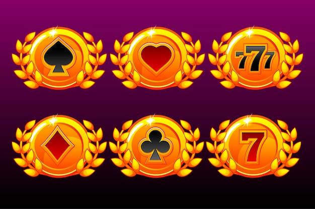 Symbole kart do gry na szablonie nagród