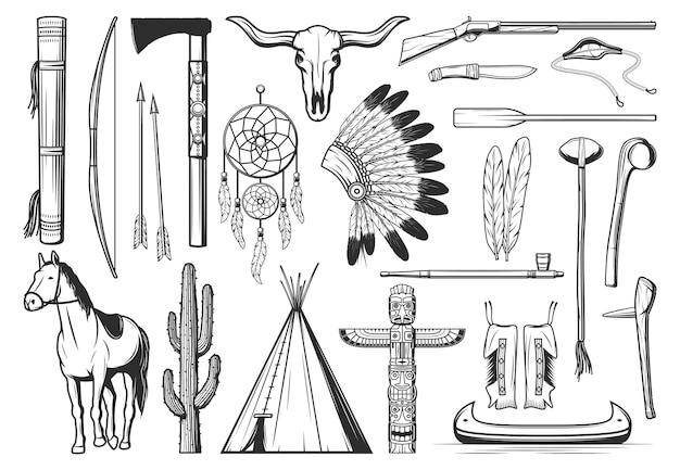 Symbole kultury indian amerykańskich. cienki łuk, strzały i kołczan, tomahawk lub toporek