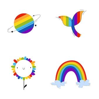 Symbole lgbt z planetą, wielorybem, tęczą i kwiatami