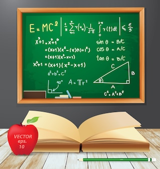 Symbole matematyczne rysunki na tablicy emc2 z otwartą książką