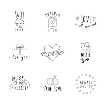 Symbole miłości zestaw ikon wektorowych