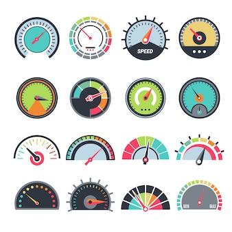 Symbole miar poziomu. wskaźnik prędkościomierza wskazanie paliwa wektor zbiory symboli infografikę