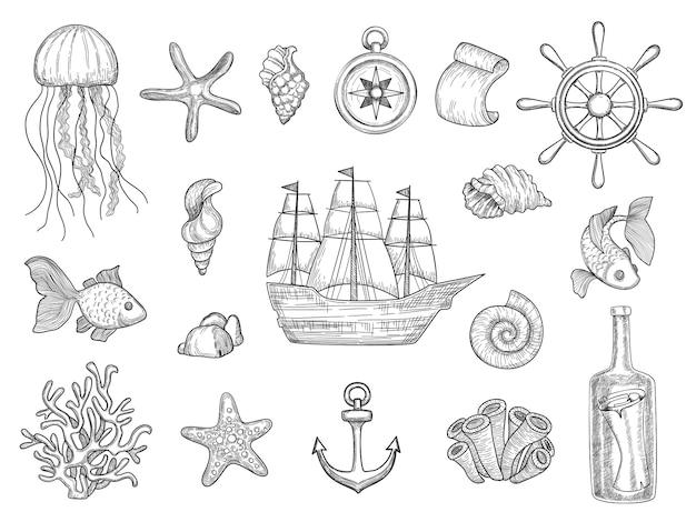 Symbole morskie. ryby statek muszle łodzie ocean symbole żaglówka kolekcja morskich