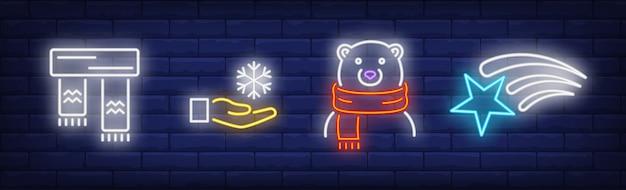 Symbole nadchodzące zimy ustawione w stylu neonowym