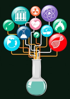 Symbole naukowe i szklane pojemniki