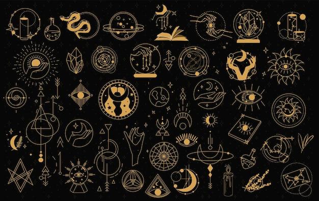 Symbole obiektów mistycznych i astrologicznych. doodle ezoteryczne, mistyczne ręcznie rysowane elementy boho.