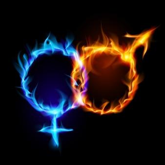 Symbole ognia marsa i wenus.