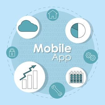 Symbole okrągłe aplikacji mobilnej smartphone