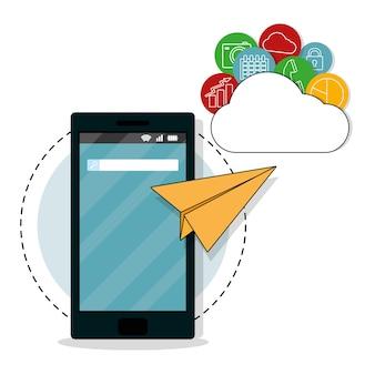 Symbole okrągłych aplikacji mobilnych smartfonów