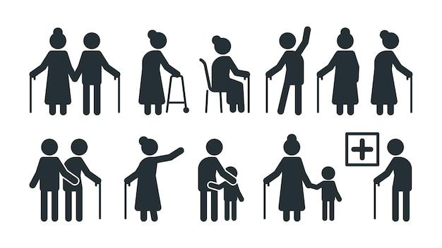 Symbole osób starszych. osoby starsze stylizowane piktogram seniorów w różnych pozach wektor zestaw. piktogram stylizowany w podeszłym wieku, ilustracja sylwetki chodzenia poza