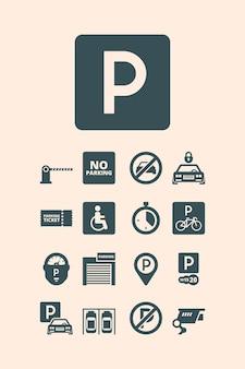 Symbole parkingowe. płatne pieniądze garaż auto park samochody rowery autobusy zestaw automatycznych systemów parkingowych.