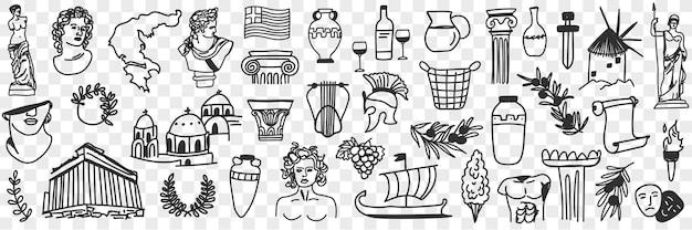 Symbole starożytnej kultury doodle zestaw. kolekcja ręcznie rysowanych greckich rzeźb, budynków, łuków bogów, statków, instrumentów muzycznych, masek do teatru z czasów historycznych na przezroczystym tle