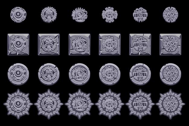 Symbole starożytnej mitologii meksykańskiej na białym tle. amerykański aztek, totem rodzimej kultury majów. ustaw ikony.