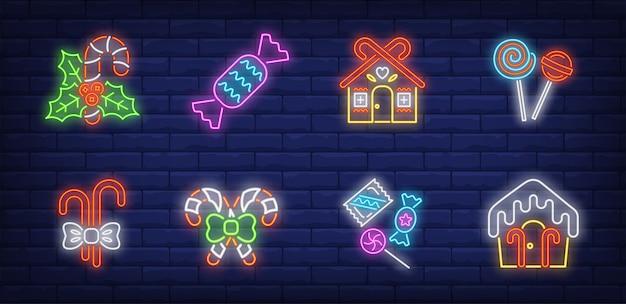 Symbole świąteczne cukierki ustawione w stylu neonowym