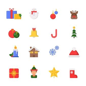 Symbole świątecznych dekoracji. zimowe drzewo gwiazda północna prezenty wstążki buty ikony w stylu płaski