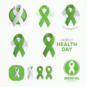 Symbole światowego dnia zdrowia. płaskie zielone wstążki.