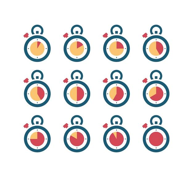 Symbole timera. 24-godzinne zegary animacyjne szybkie cyfrowe piktogramy minut