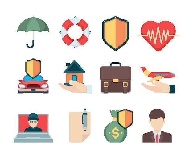 Symbole ubezpieczeniowe. różne przypadki dla typu ubezpieczenia podróżnych dla biznesowych agentów specjalnych na życie i zdrowie wektorowe ikony. ilustracja osłona zdrowotna i ubezpieczeniowa, bezpieczeństwo biznesowe