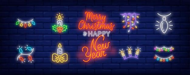 Symbole wystroju nowego roku ustawione w stylu neonowym z bajkowymi światłami