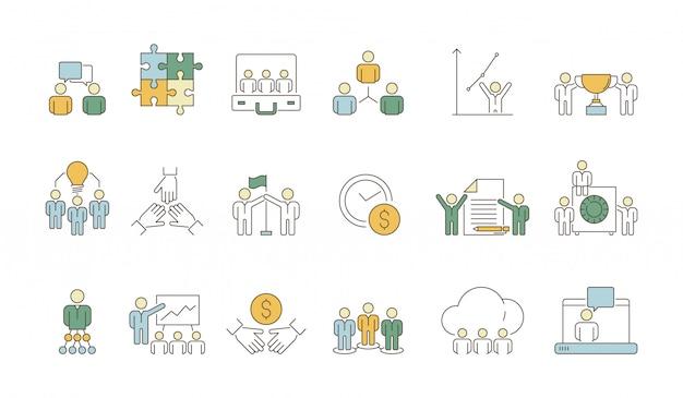 Symbole zespołu biznesowego. praca biurowa organizacji grupy narodów lider coworking tłum kolorowe cienkie ikony
