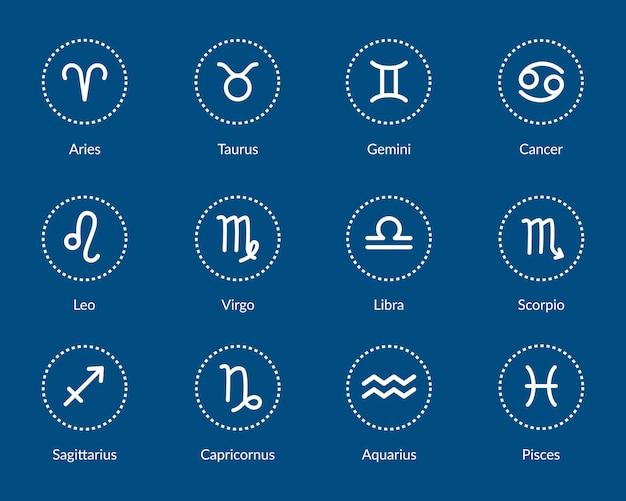 Symbole zodiaku. zestaw białych ikon zodiaku w okrągły kształt na białym tle na ciemnym niebieskim tle. symbole astrologiczne, znaki zodiaku. astrologia wedyjska