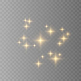 Symbole żółty, biały, złoty, pomarańczowy błyszczy. zestaw oryginalnych ikon blasku gwiazd. jasny fajerwerk, migotanie dekoracji, błyszczący błysk.