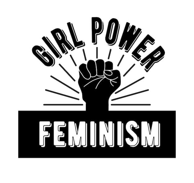 Symbolem feminizmu jest zaciśnięta pięść. siła dziewczyn i feminizm. ilustracja wektorowa