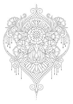 Symetryczny ornament. czarno-białe kolorowanki.