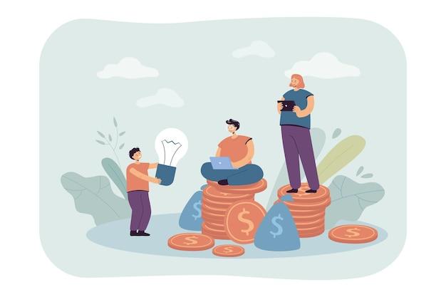 Syn dający pomysł rodzicom z pieniędzmi i gadżetami. dziecko trzymające żarówkę, matkę i ojca na stosach monet płaskiej ilustracji