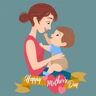 Syn siedzi na kolanach matki