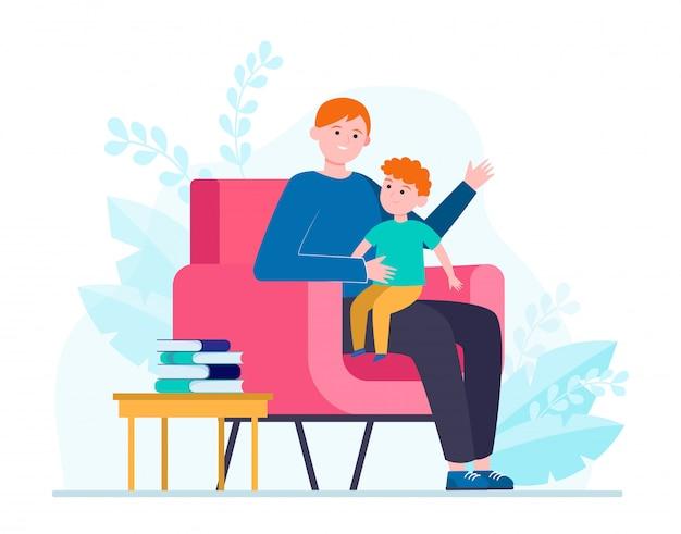 Syn siedzi na kolanach ojca i słucha historii