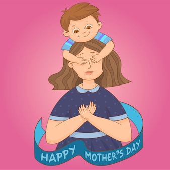 Syn zamykając oczy matki rękami